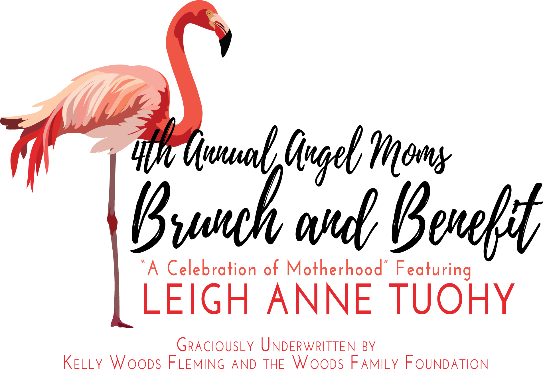 AM Brunch and Benefit Logo with Flamingo (NO POH or date, Underwritten Incl)