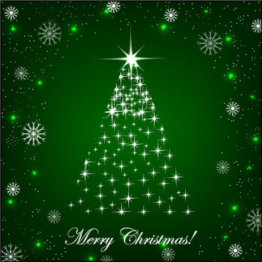 shiny_christmas_tree_with_green_background_vector_574981